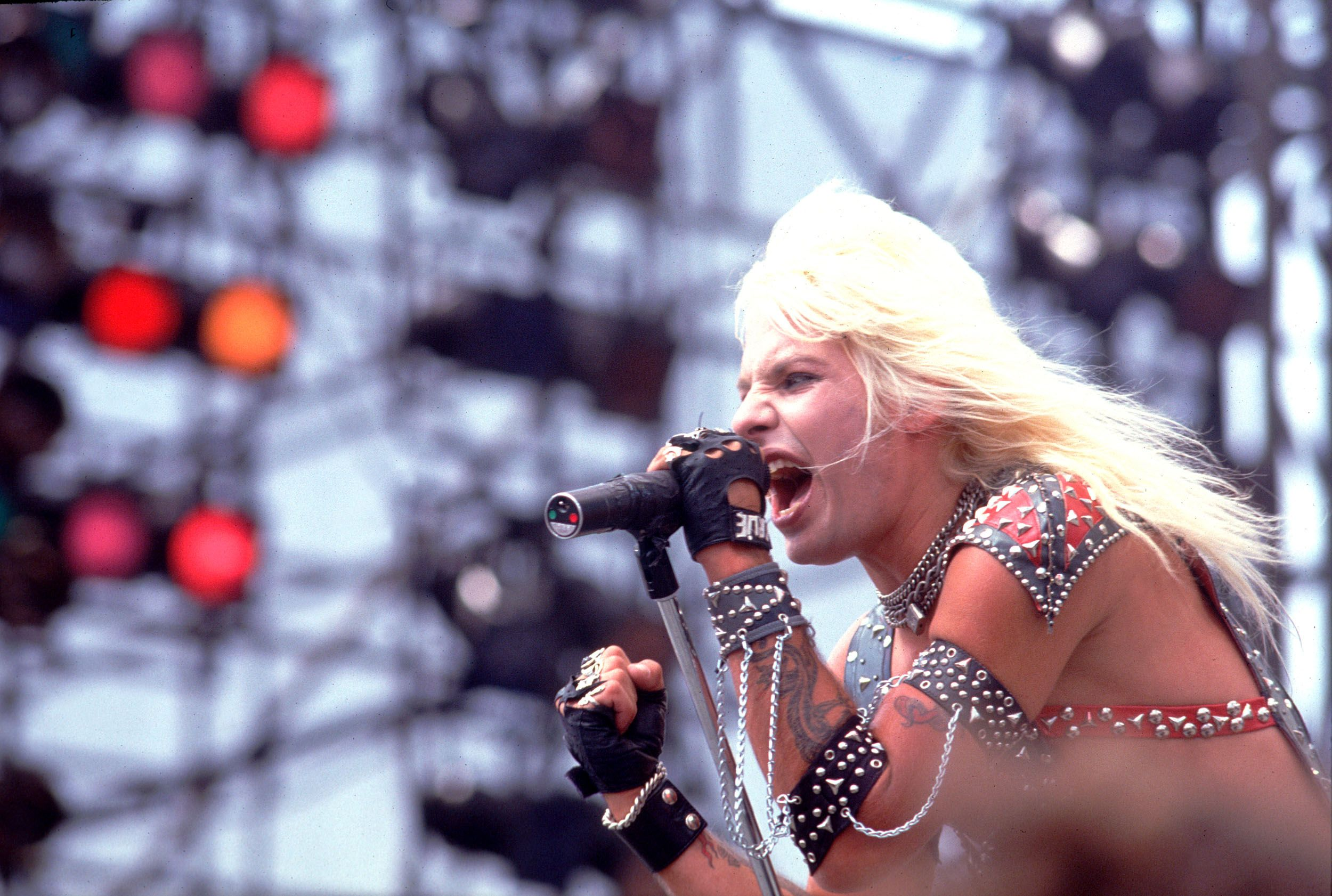 Vince Neil performs at the US Festival in Ontario, California, on May 30, 1983.