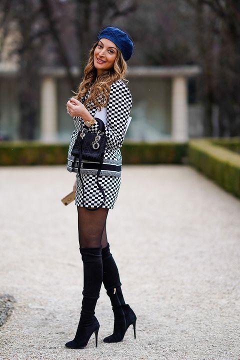 Clothing, Beanie, Street fashion, Black, Shoulder, Fashion, Footwear, Joint, Knee-high boot, Knee,