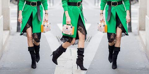 Green, Clothing, Fashion, Leg, Street fashion, Joint, Footwear, Knee, Human leg, Thigh,