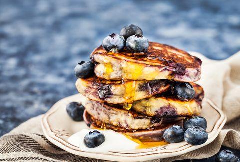 Stack of freshly prepared blueberry ricotta pancakes