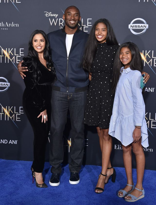 los angeles, ca   february 26  l r vanessa laine bryant, former nba player kobe bryant, natalia diamante bryant and gianna maria onore bryant arrive at the premiere of disney's 'a wrinkle in time' at el capitan theatre on february 26, 2018 in los angeles, california  photo by axellebauer griffinfilmmagic