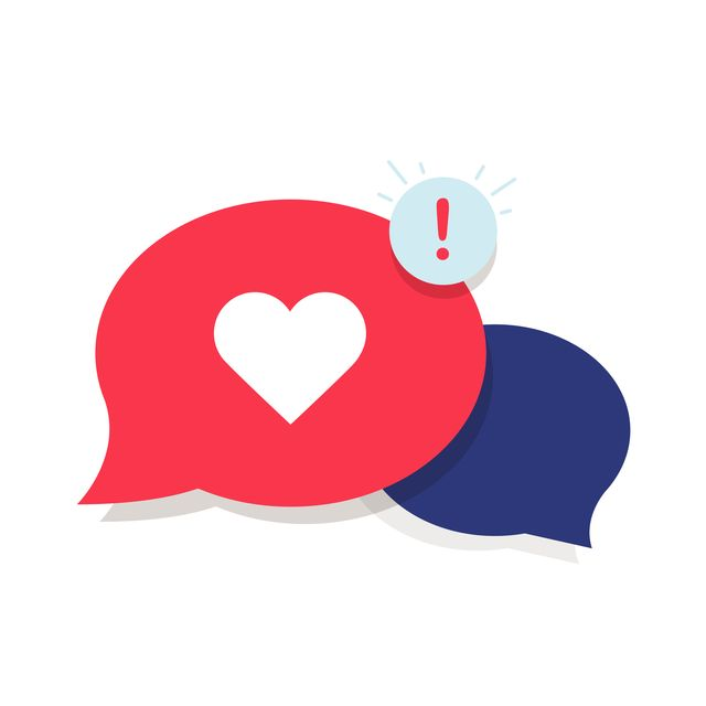 brand ambassador chat speech bubble icon and influencer marketing representative love chat or client oriented symbol concept cloud with heart and awarness sign long distance relationships