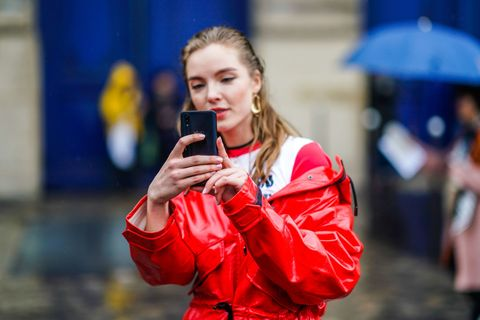 Red, Beauty, Street fashion, Blond, Fun, Electric blue, Photography, Brown hair, Competition event, Jacket,
