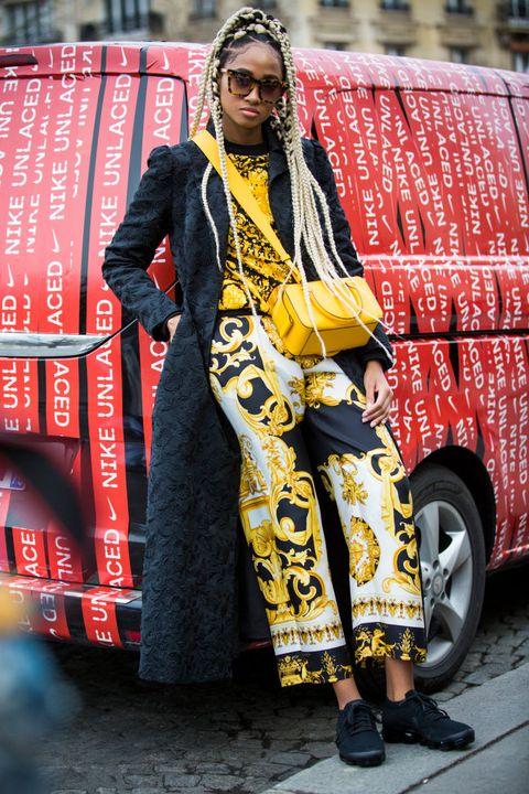 Street fashion, Yellow, Fashion, Outerwear, Textile, Style,