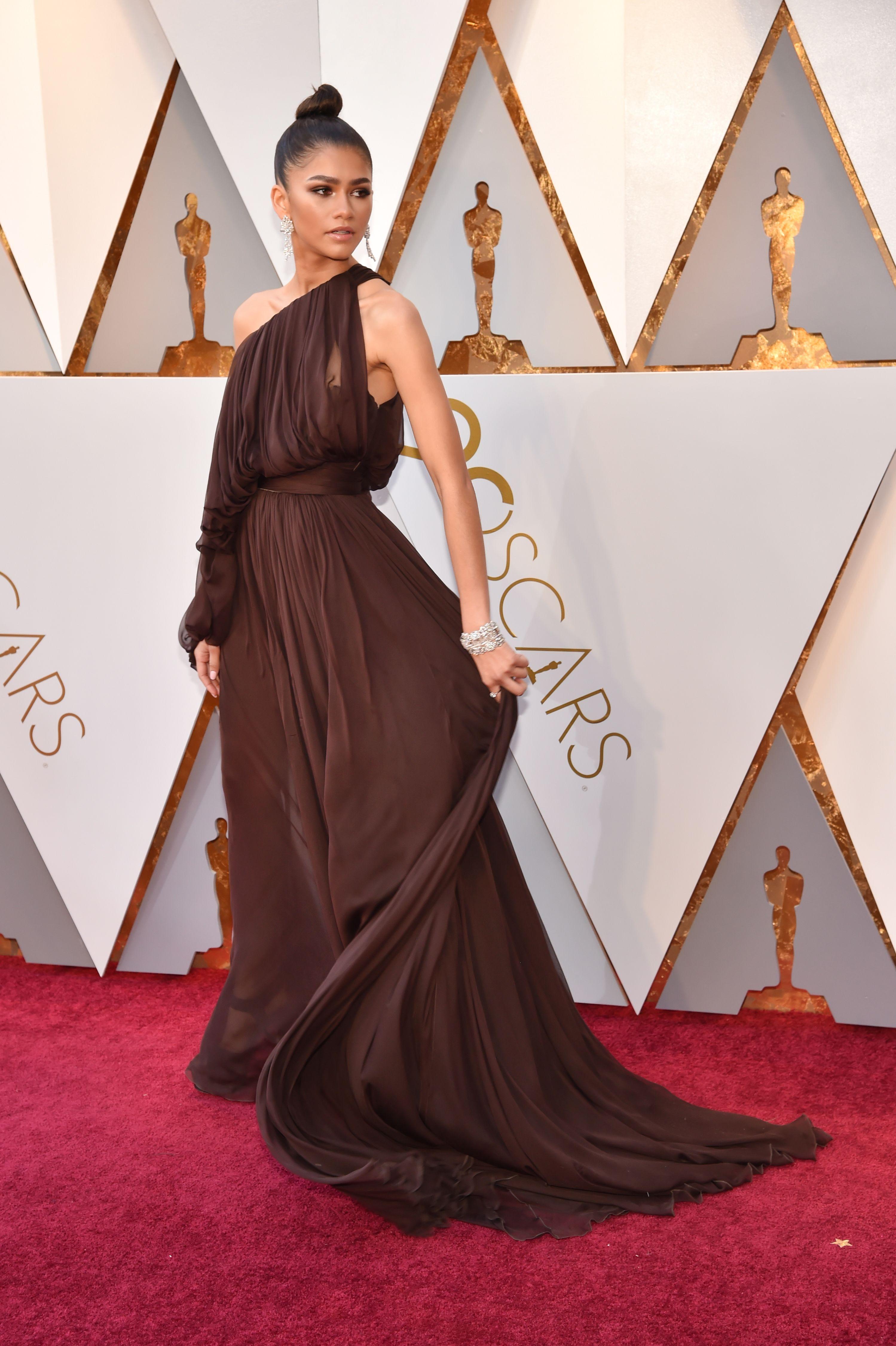 f076182bc Zendaya Oscars 2018 Red Carpet Dress - Zendaya Wears Grecian-Inspired Dress  to Academy Awards