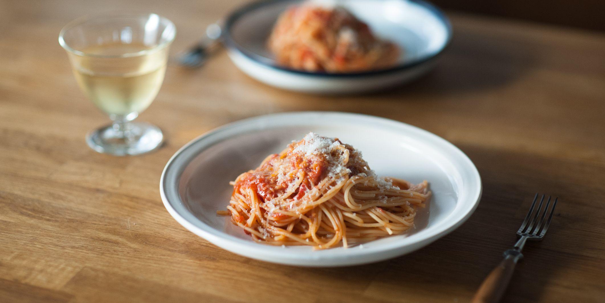 Tomato sauce spaghetti with parmesan cheese