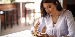 Woman making the most of her lunch break