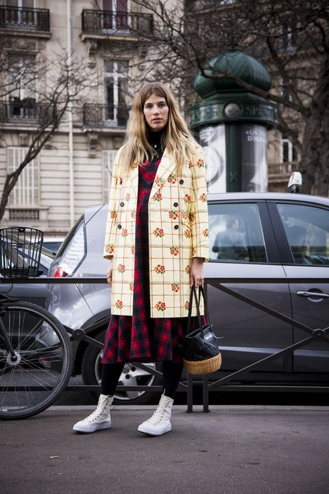 Street fashion, Clothing, Photograph, Fashion, Pink, Plaid, Tartan, Snapshot, Footwear, Fur,
