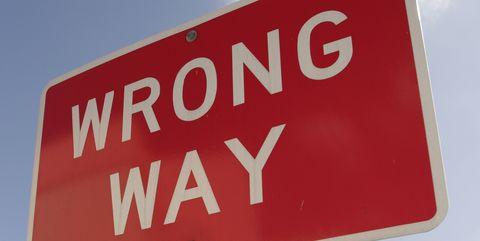 A wrong way sign.