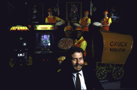 united states   november 01  nolan bushnell in one of his pizza time theater restaurants  photo by ted thaithe life picture collection via getty images