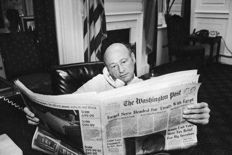 united states   september 01  new york mayor ed koch in his office reading the washington post during the newspaper strike  photo by ted thaithe life picture collection via getty images