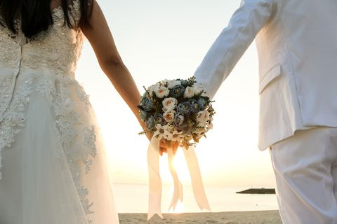 Photograph, Bride, Dress, Wedding dress, Gown, Bridal clothing, Bouquet, Wedding, Ceremony, Marriage,