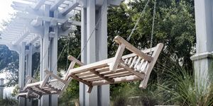Wood Porch Swings in Park