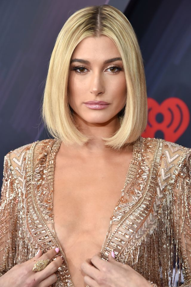 inglewood, ca   march 11  co host hailey baldwin arrives at the 2018 iheartradio music awards which broadcasted live on tbs, tnt, and trutv at the forum on march 11, 2018 in inglewood, california  photo by kevin mazurgetty images for iheartmedia