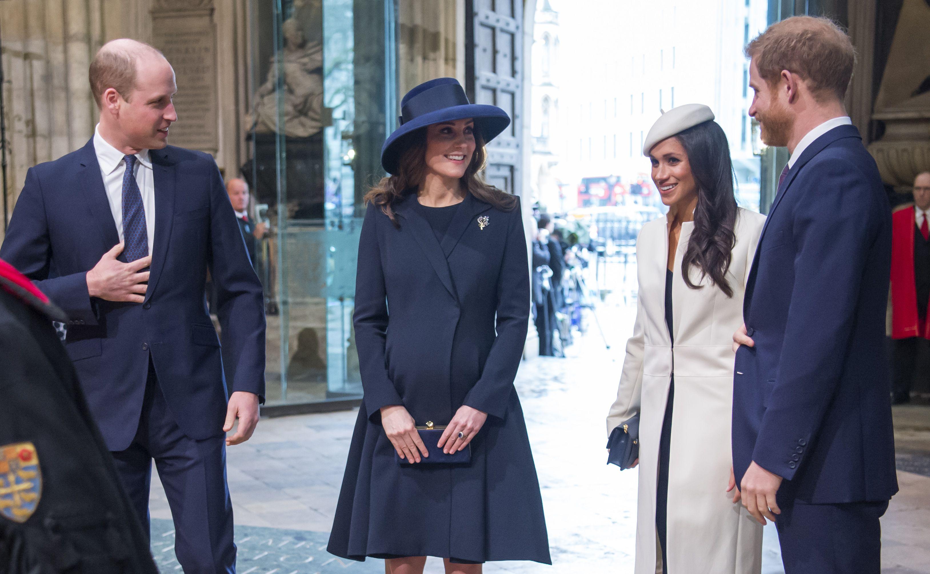 El príncipe Guillermo, Kate Middleton, Meghan Markle y el príncipe Harry