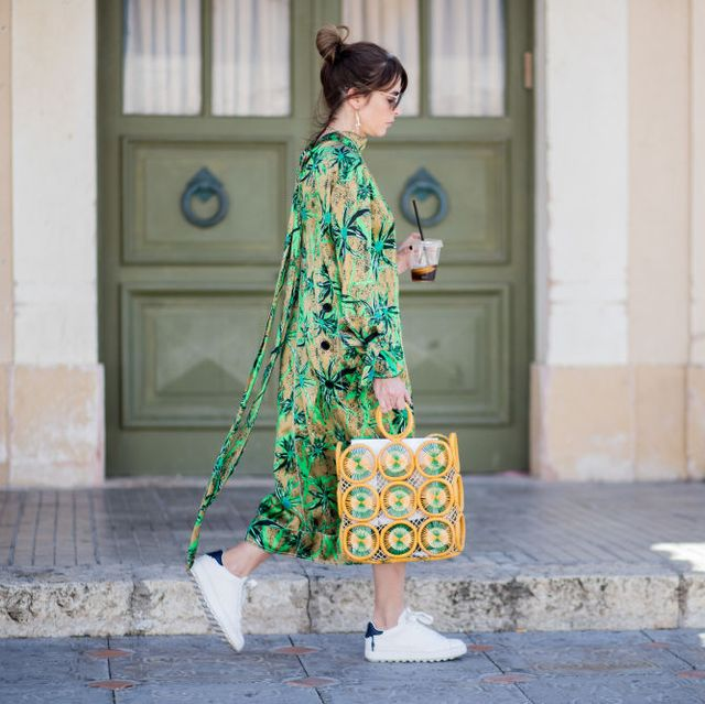 White, Street fashion, Green, Clothing, Shoulder, Fashion, Yellow, Outerwear, Dress, Textile,