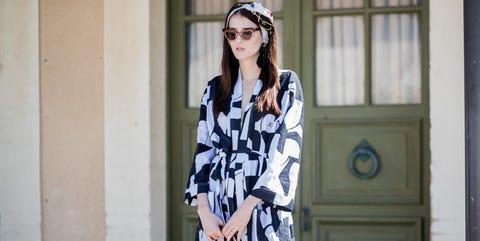 Sleeve, Shoulder, Pattern, Style, Street fashion, Fashion, Dress, Cap, Headpiece, Fashion model,