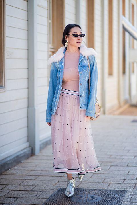 Clothing, Street fashion, Blue, Pink, Fashion, Dress, Outerwear, Denim, Turquoise, Jeans,