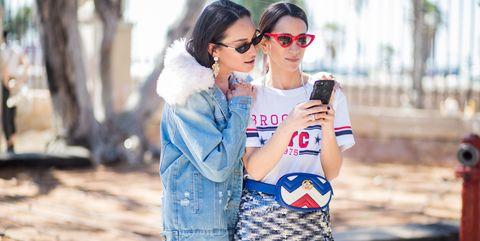 Street fashion, Clothing, Fashion, Dress, Outerwear, Jeans, Textile, Sunglasses, Eyewear, Denim,