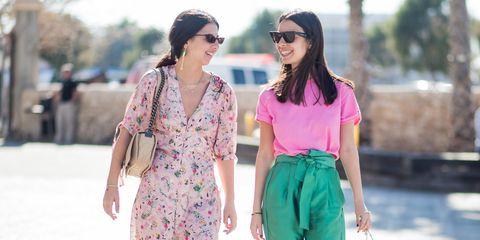Clothing, Street fashion, Pink, Fashion, Summer, Waist, Footwear, Dress, Sunglasses, Trousers,