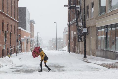 Snow, Winter, Blizzard, Winter storm, Urban area, Freezing, Street, Pedestrian, Infrastructure, Neighbourhood,
