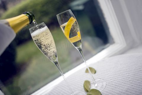 prosecco in modern kitchen environment with food