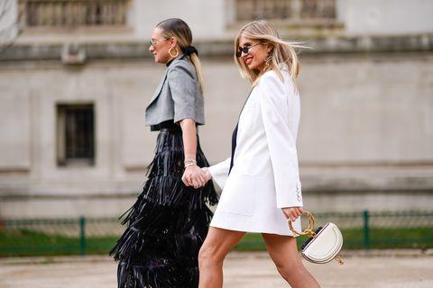 Street fashion, Photograph, White, Clothing, Fashion, Snapshot, Footwear, Dress, Shoulder, Outerwear,