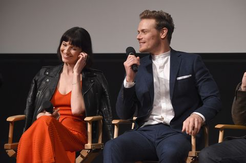 Caitriona Balfe and Sam Heughan Together Interview - Sam