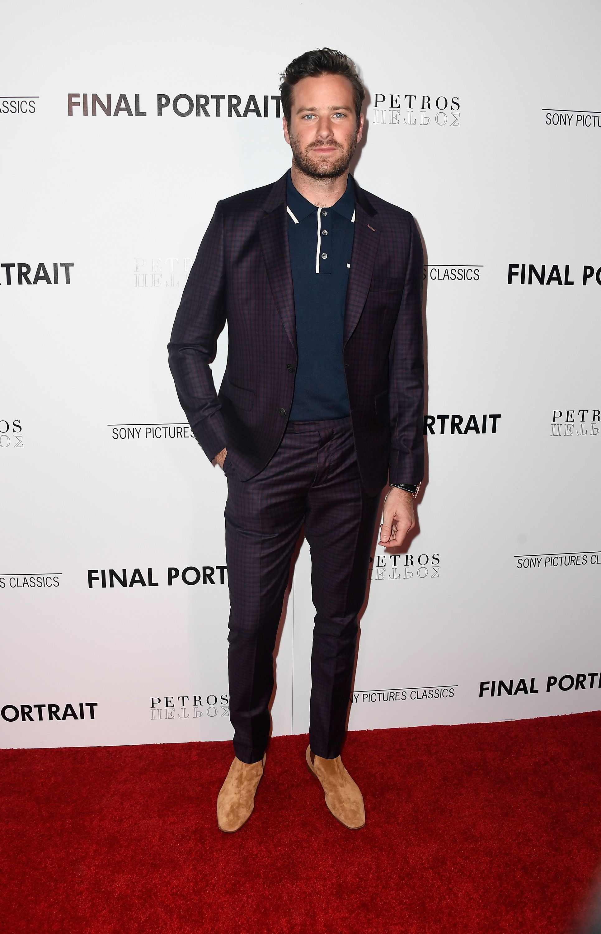Armie Hammer When you need a suit but can skip the tie, opt for a clean-cut polo rather than a dress shirt. Lose the jacket after your big meeting.