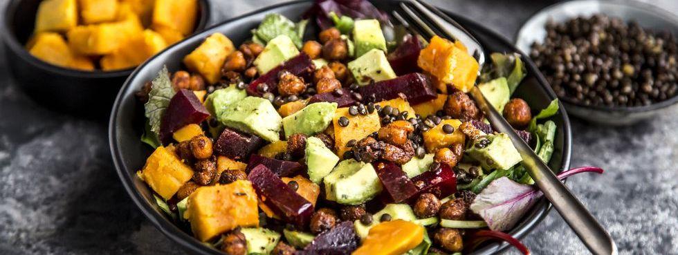 Superfood salad, avocado, beetroot, roasted chickpea, sweet potatoe, beluga lentil and blood orange