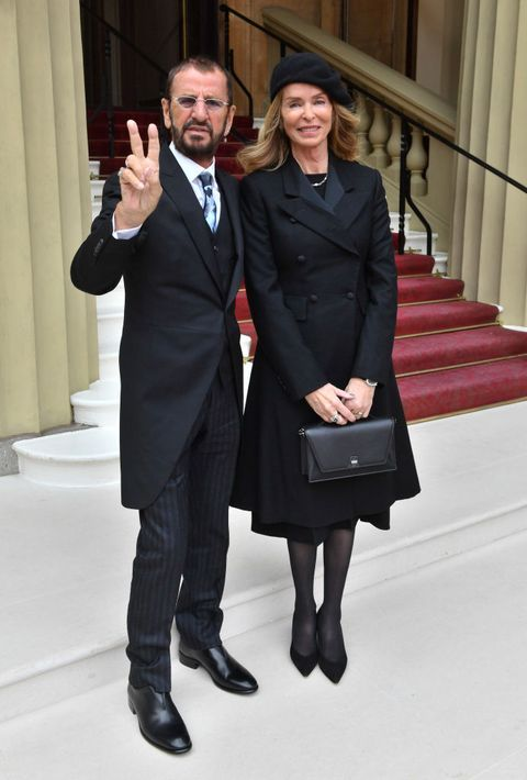 london, england   march 20  ringo starr, real name richard starkey, poses with his wife barbara bach as he arrives at buckingham palace to receive his knighthood at an investiture ceremony on march 20, 2018 in london, england photo by john stillwell   wpa poolgetty images