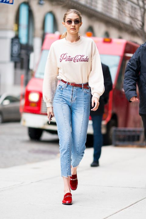 Jeans, Clothing, Denim, White, Street fashion, Fashion, Red, Waist, Snapshot, Footwear,
