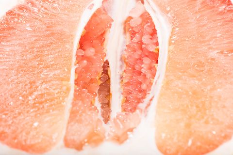 The pomelo pulp close up.