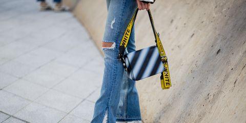 Street fashion, Jeans, Clothing, Denim, Yellow, Fashion, Footwear, Textile, Design, Tartan,