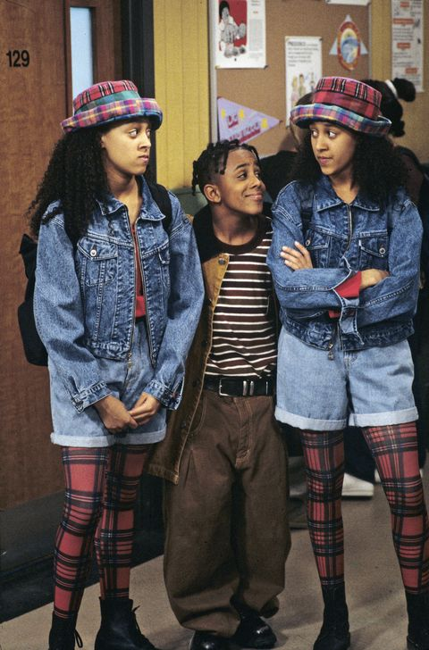 "united states   september 05  sister, sister   ""car trouble""   season one   5201994, the twins tia and tamera tia, left, and tamera mowry with their neighbor roger marques houston accidently scratch ray's car and lisa is blamed,  photo by walt disney television via getty images photo archiveswalt disney television via getty images"