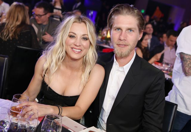 los angeles, ca   march 24  kaley cuoco and karl cook attend seth rogens hilarity for charity at hollywood palladium on march 24, 2018 in los angeles, california  photo by rachel murraygetty images for netflix