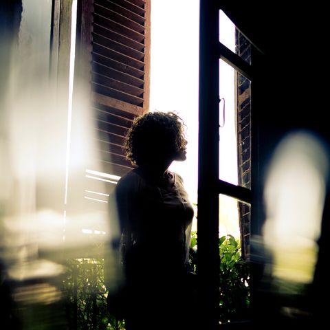 Backlighting, Light, Darkness, Water, Standing, Window, Sunlight, Photography, Shadow, Human,