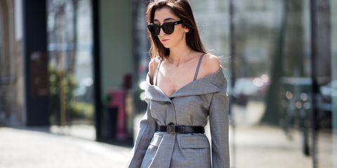 Clothing, Eyewear, Street fashion, Shoulder, Sunglasses, Fashion, Waist, Outerwear, Jeans, Coat,