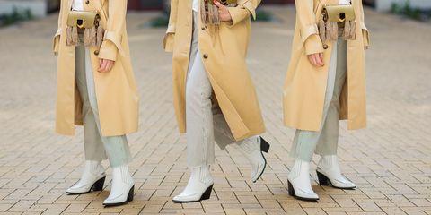 Clothing, Fashion, Yellow, Leg, Footwear, Outerwear, Street fashion, Coat, Knee, Human leg,