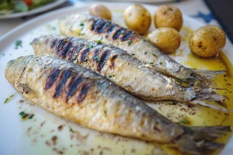 close up of grilled sardine fishes served in oil with baked potatoes, a traditional portuguese food, portugal
