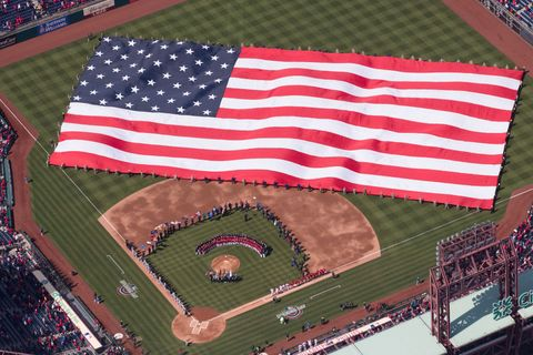 Flag of the united states, Flag, Stadium, Sport venue, Baseball field, Flag Day (USA), Textile, Architecture, Baseball park, Competition event,