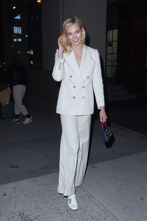 White, Clothing, Suit, Pantsuit, Street fashion, Fashion, Outerwear, Formal wear, Blazer, Footwear,