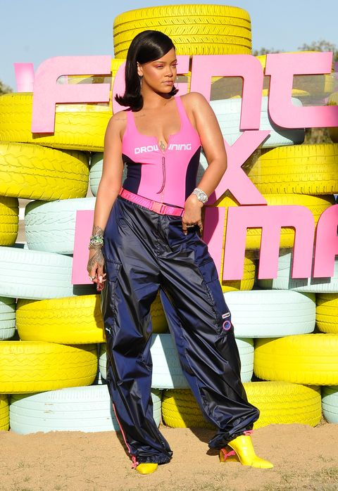 rihanna attends the fentyxpuma drippin event launching the summer '18 collection at coachella on april 14, 2018 in thermal, california
