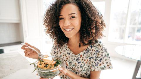 Eating, Food, Dish, Meal, Vegetarian food, Smile, Food craving, Cuisine, Side dish, Breakfast,