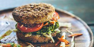 Burger for vegetarians. Burger with falafel.