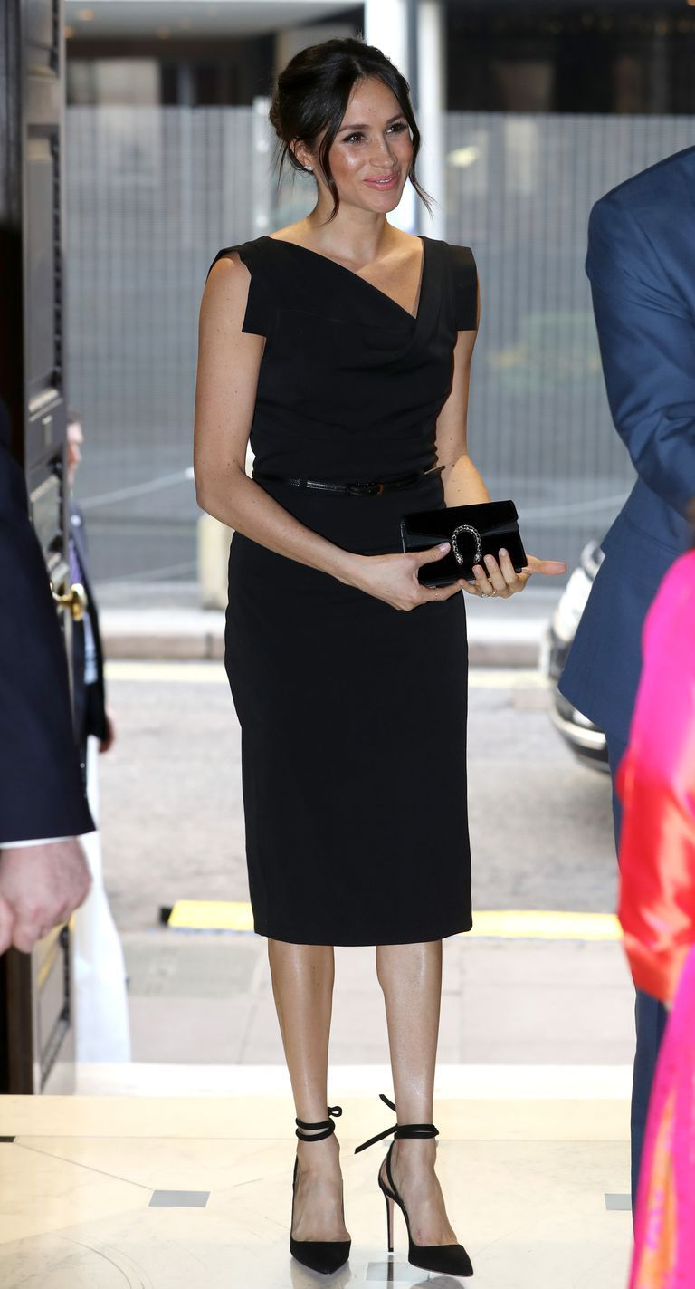 meghan markle black halo dress