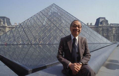 Portrait d'Ieoh Ming Pei au musée du Louvre