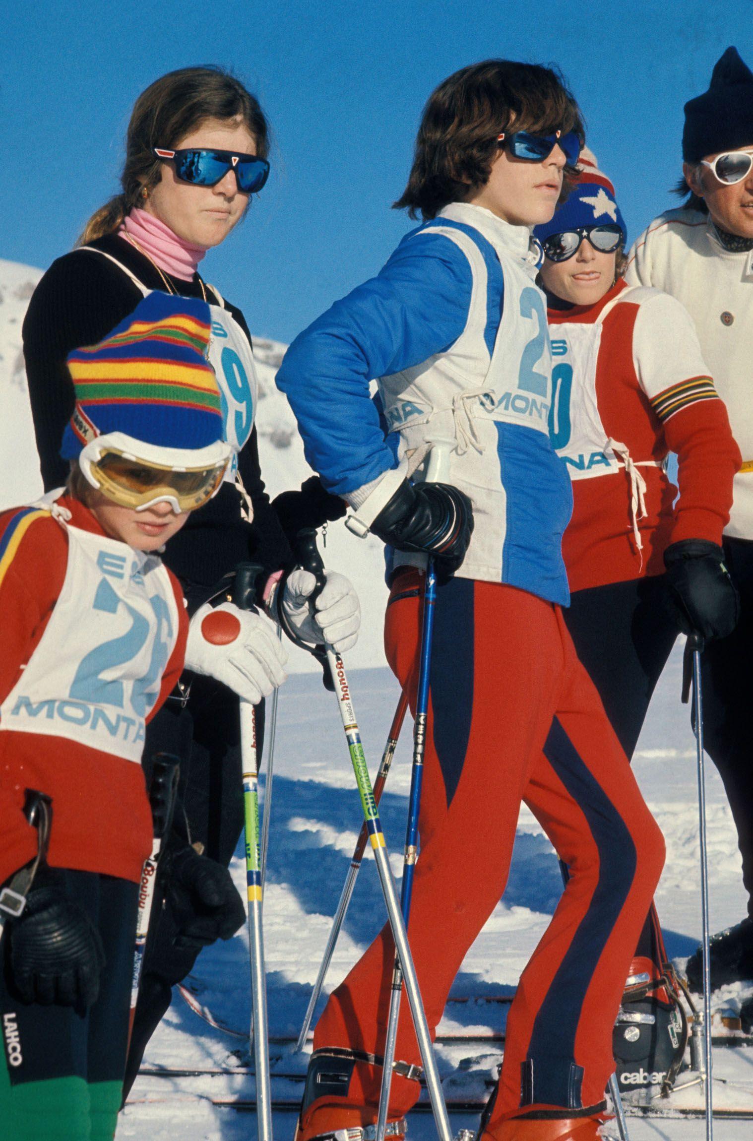 John F Kennedy Jr. skiing in Gstaadt, Switzerland on January 2, 1975.