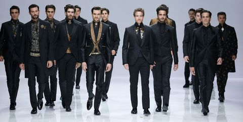 Fashion, Fashion model, Runway, Fashion design, Suit, Formal wear, Event, Model, Fashion show, Team,