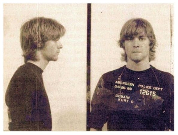 Kurt Cobain's mug shot after being arrested by Aberdeen, Washington police in May 1986.